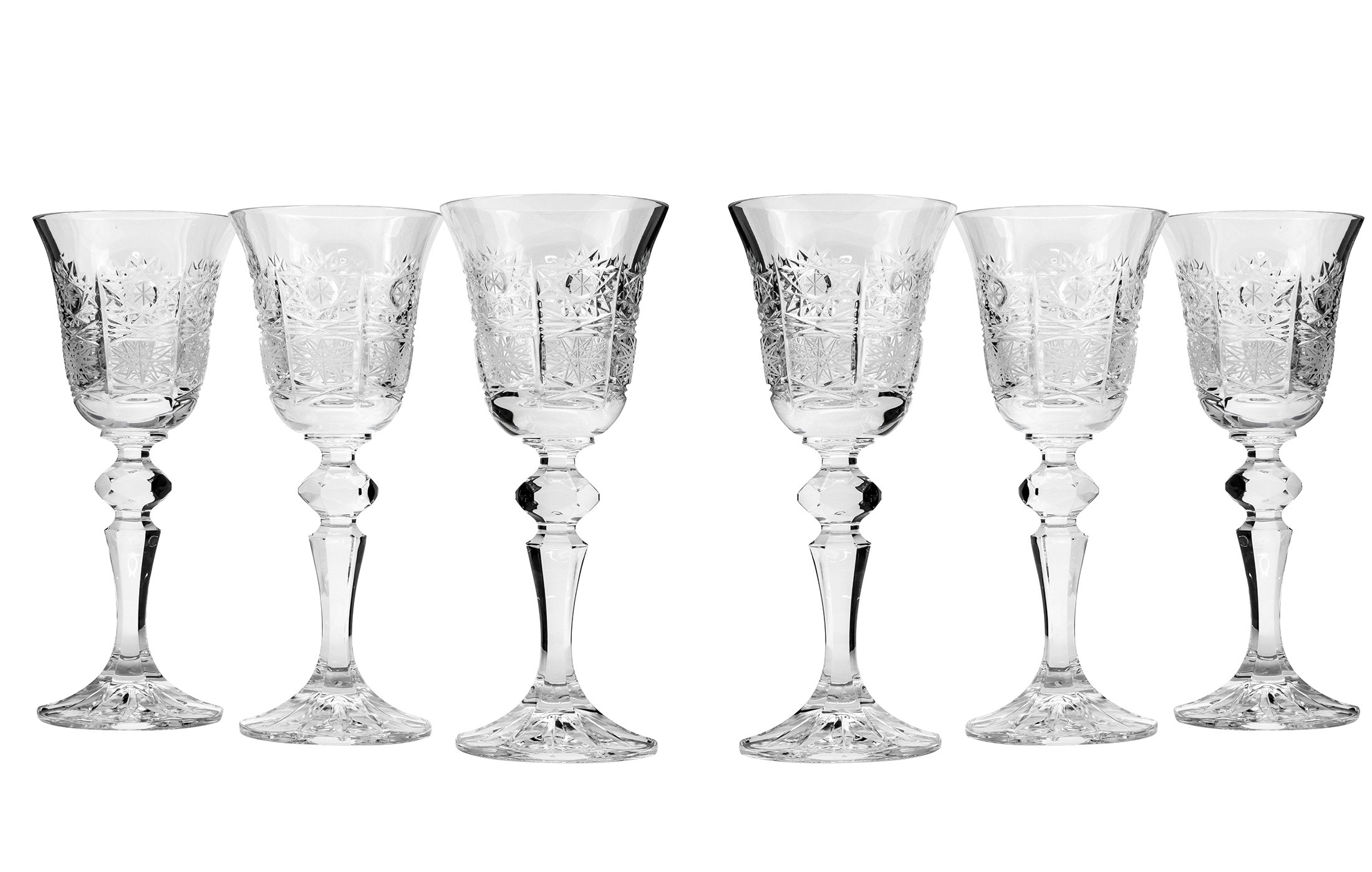 Bohemia Crystal 50148, 5 Oz. Crystal Cut Wine Glasses on a Long Stem, Clear Red/White Wine Glasses, Wedding Gift Drinkware, Set of 6
