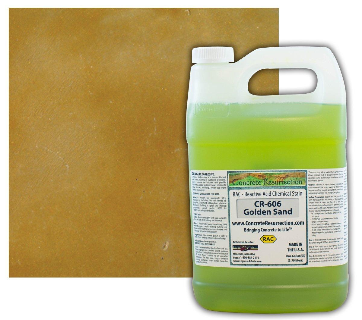 Concrete Stain Professional Easy to Use Acid Stain Golden Sand (Brown w/Golden Undertones)-1 Gallon Concrete Resurrection