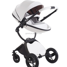 Super fashion high quality landscape leather luxury deluxe strollers baby pram 2 in 1
