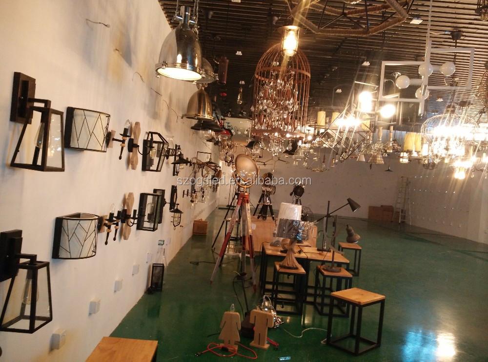 Interieur moderne ijzer clear glas lantaarn hanglamp plafond