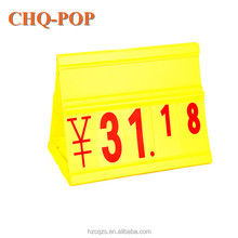 Nice Plastic Folding Triangle Stand Supermarket Display PVC Pop Price Sign Digital Board