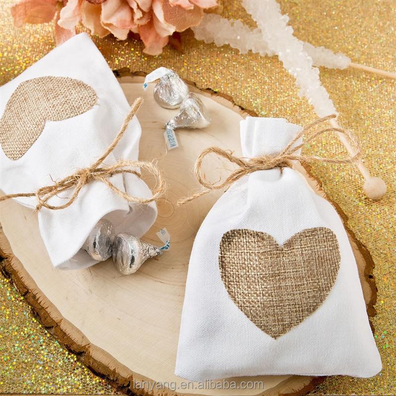 Rustic White Cotton Favor Bags With Burlap Heart Bridal Shower