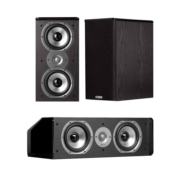 Polk Audio Home Theater Speakers (2 TSi 200 Bookshelf Speakers and 1 CS10 Center Channel Speaker) - Black