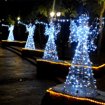 outdoor lighted christmas angels