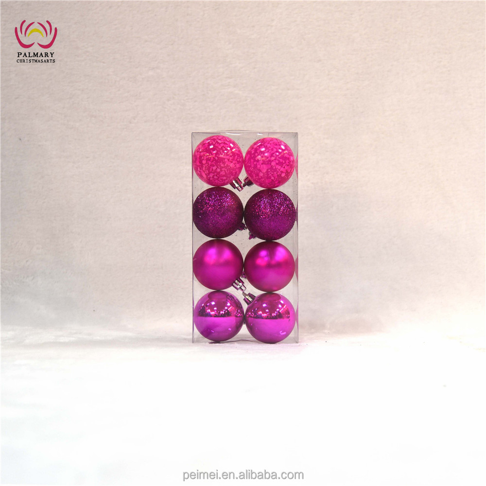 Christmas ornaments 6cm rose red baubles shiny matt glitter marbled balls 8 pcs/PVC box factory supply customized available