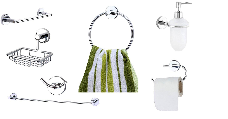 KRM Moonstone Towel Ring+ Soap Dish+Toilet Paper Holder+ Soap Dispenser+Towel Rod +Grab Bar+Robe Hook- Pure Brass