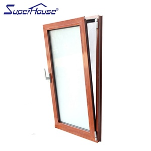 AS2047 NFRC DADE CSA wooden color double glass tilt and turn aluminium window