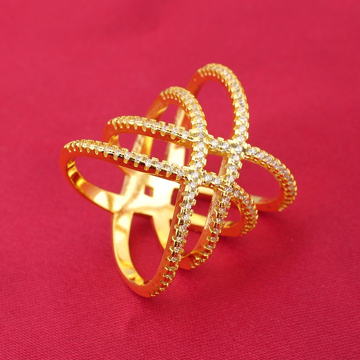 Custom Unique Europe Design Fashion Zircon Gold Silver Jewelry Women Long Ring