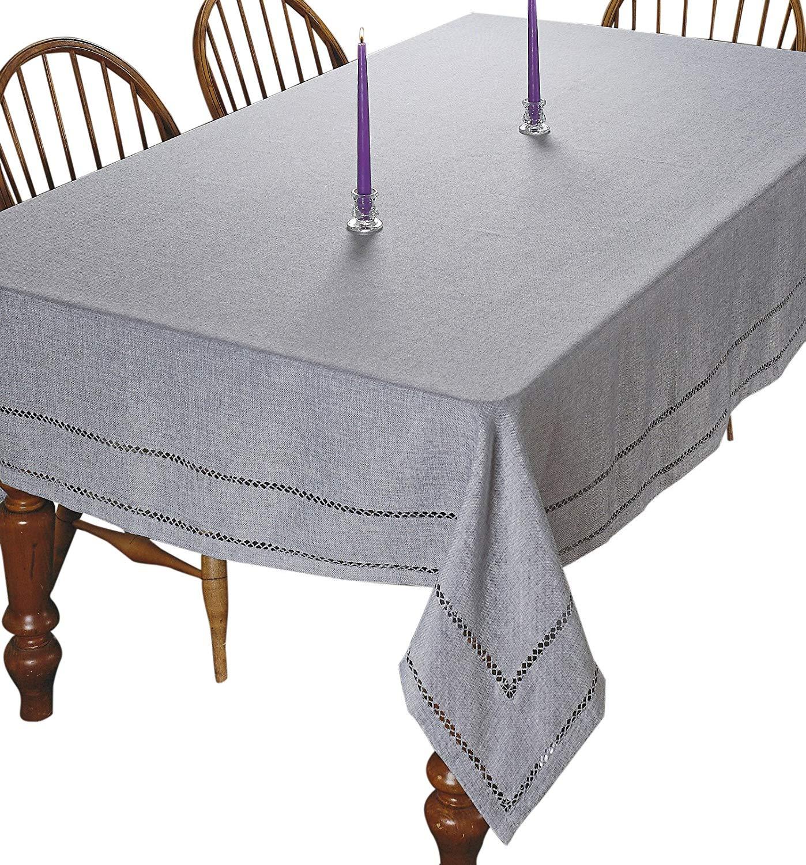 "Violet Linen Hem Stitch Embroidered Vintage Design Oblong/Rectangle Tablecloth, 54"" x 72"", Gray"