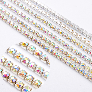China yiwu wholesale rhinestone beads cup chain with gold base for jewelry making
