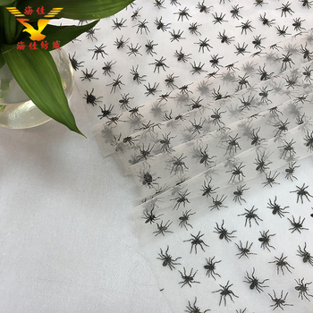 spider glitter print beautiful organza fabric for Halloween party
