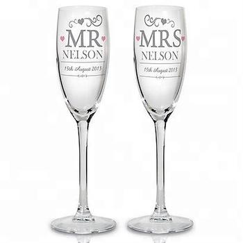 Wholesale Custom Set 2 Of Wedding Etched Wine Glass Bulk Champagne