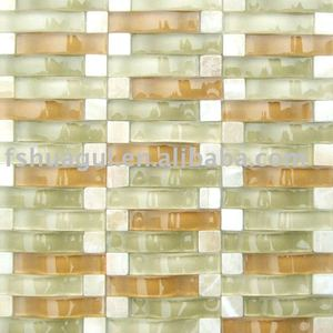 Arch crystal glass blend stone mosaic