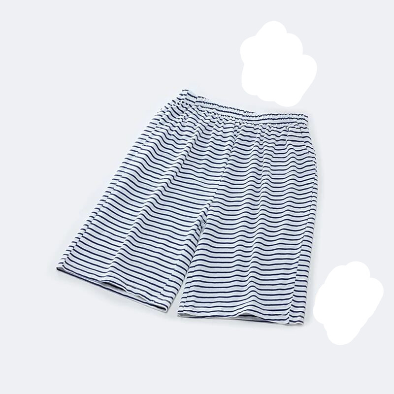 Wholesale Couple's 100% Cotton Jersey Summer Casual Striped Nightwear Drawstring Shorts