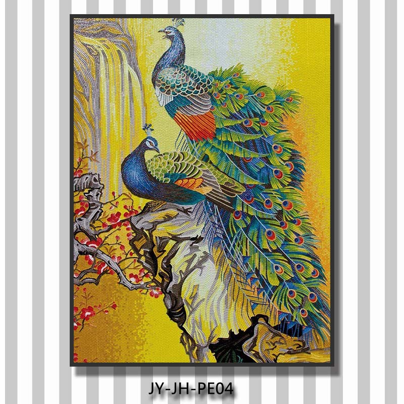 Jy jh pe06 peacock mosaic tile pattern wall design foshan for Mural glass painting
