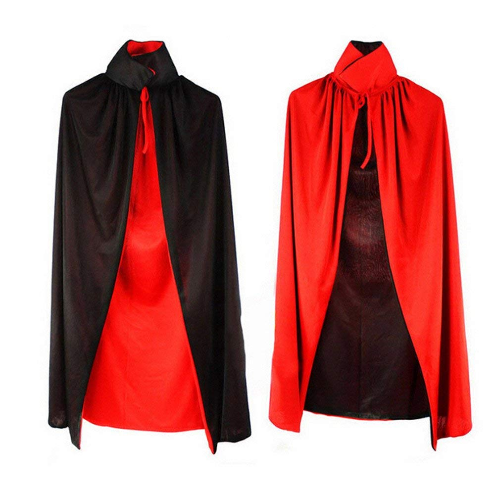 Gbell Kids Halloween Robe Cape Cloak Costumes - Red& Black Devil Horns Gowns Wizard Cloak Cape Robe Cosplay Costumes Party Props for Boys Girls 8 9 10 11 12 Year Old,90 cm (Black & Red)