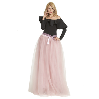 Newest Design Floor Length Long Tulle Skirt Women Tulle Skirt Long Wedding Skirt fit for Wedding Engagement Party