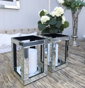Wholesale Decorative Square Mirrored Candle Holder, Custom Tall Pillar Glass Candle Holder
