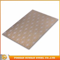 201 304 430 316 Gold Mirror 304 Color Coated Satin Etching Stainless Steel Sheet / Plate