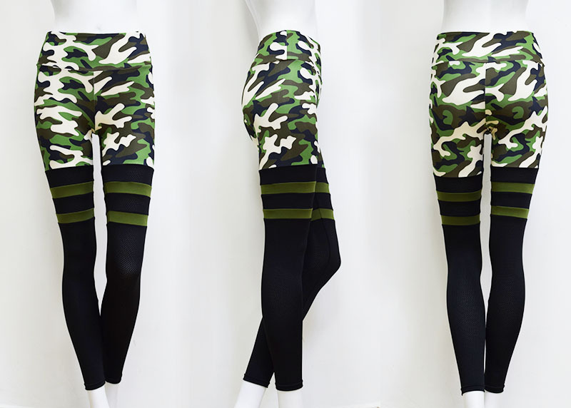 2019 Printed Army Green Gray Sublimation Camouflage Sports Tights Workout Pants Thigh High Mesh Sock Camo Leggings for Women