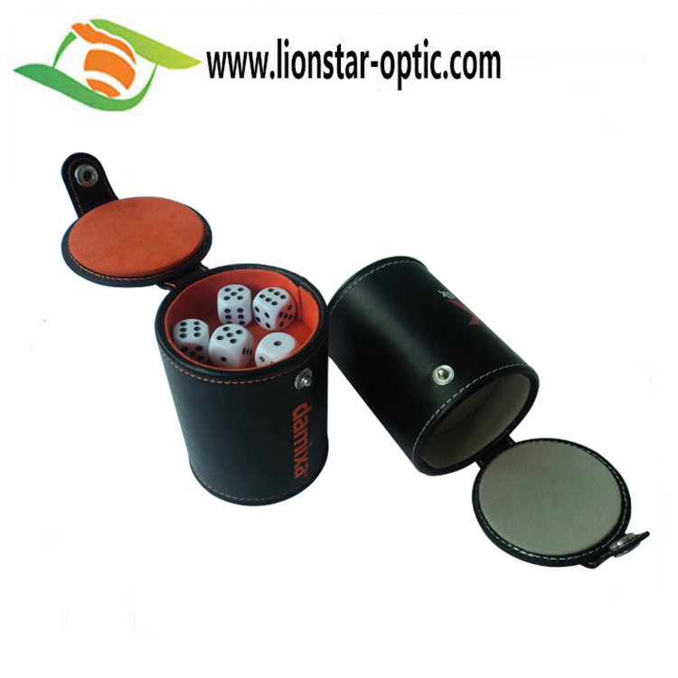 2020 New Promotion China Factory Logo Customized PU Leather Custom Shaker Cup Straight Dice Cup