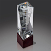 ODM/OEM Wholesale k9 Crystal Cube 3D Laser Engraving Carved Crystal Award Optical Crystal Trophy with wood base Awards