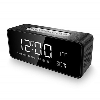 Large Led Screen Display Alarm Clock Radio Bluetooth Speakers with Dimmer Temperature