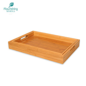 Home Hotel Breakfast Dinner Wooden Bamboo Serving Tray Set