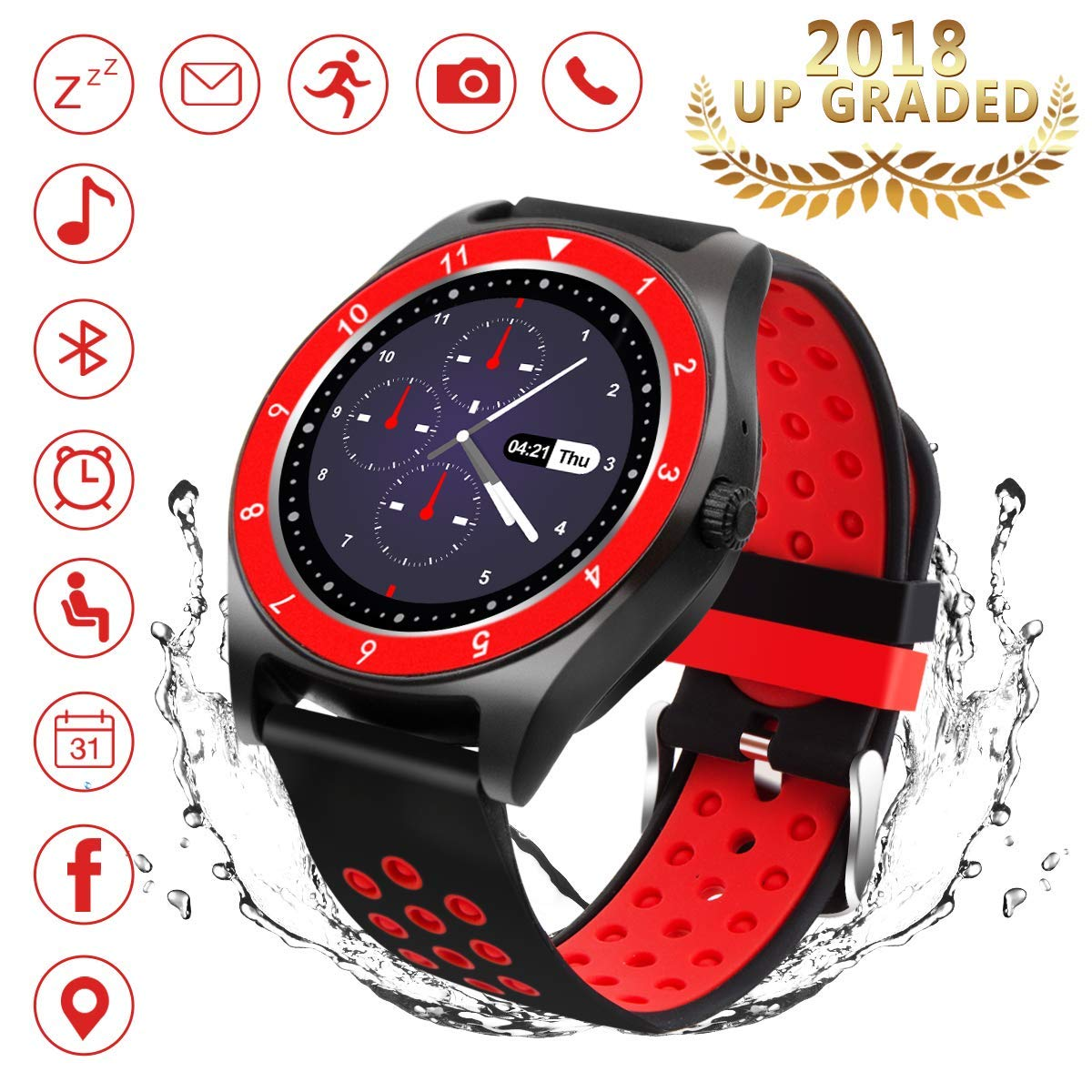Bluetooth Smart Watch, iFuntec Touch Screen Smart Wrist Watch with Camera Water-Resistant Fitness Tracker w/Pedometer Sports Smartwatch with SIM Card Slot Compatible for Android Smart Phones Women Man