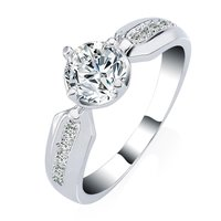 Fashion jewelry High quality 18k White Gold Plated cubic zirconia cz engagement wedding ring
