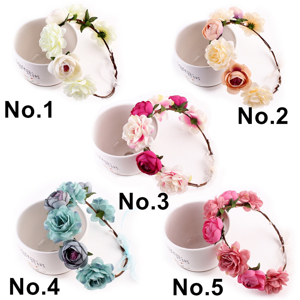 Factory Direct Sale Artificial Big Flower Spring Wreath for Women Bride, Wedding, Traveling, Party