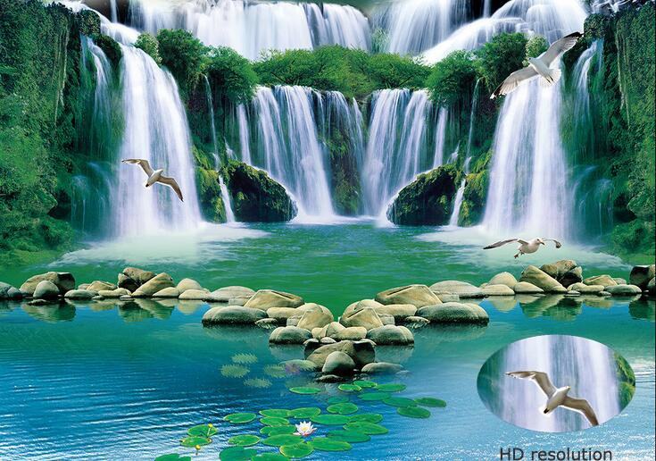 2016 whole sale 3d product 3d green picture water fall 3d for 3d clay mural painting