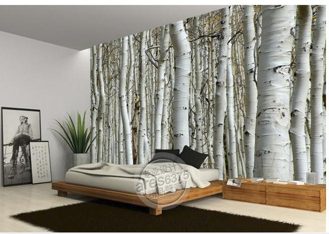 Wall Sticker Wallpaper White Birch Trees Wallpaper Mural Wallpapers 3d Wallpaper Personalized