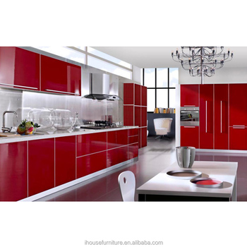Modern gorgeous high gloss red acrylic kitchens diy for Acrylic kitchen cabinets cost