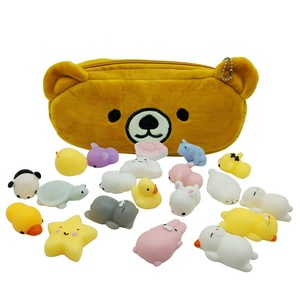 Cute animal design mini 3D mochi squishy squeeze toy with furry bag