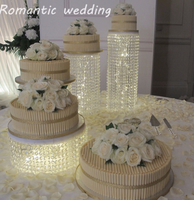 4pcs/lot Acrylic Cake Stand With Glass Crystal Beads for Weddings Decoration