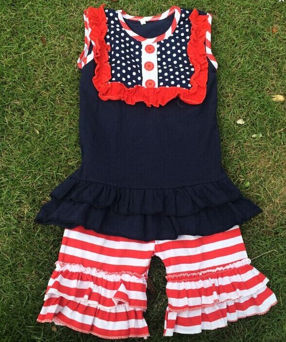 American Girls Aborable giggle moon Remake Cotton Outfits Cheap Infant Summer Wear Little Girls Boutique Remake Clothing Sets