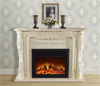 Massive Stone Carving Electric Fireplace Nouveau Indoor Electric