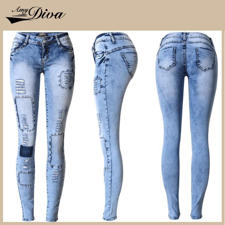 Hot Selling Ladies Jeans Top Design Oem Custom Jeans Wholesale ...