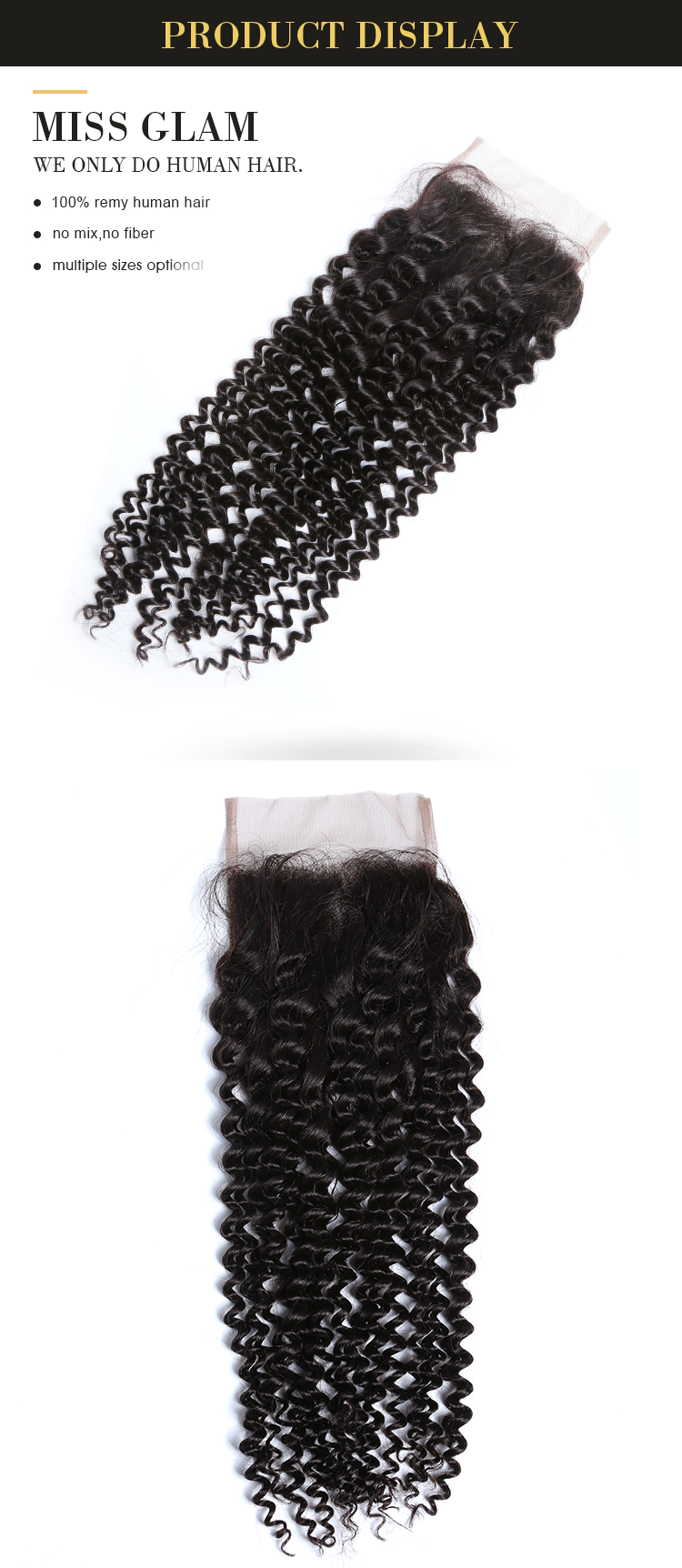 wholesale malaysian deep curly hair remy human hair with lace frontal closures