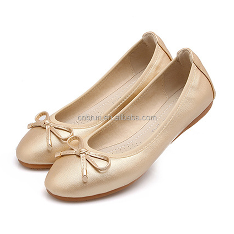 Wholesale big size women ballet roll up leather women's flat shoes with bow