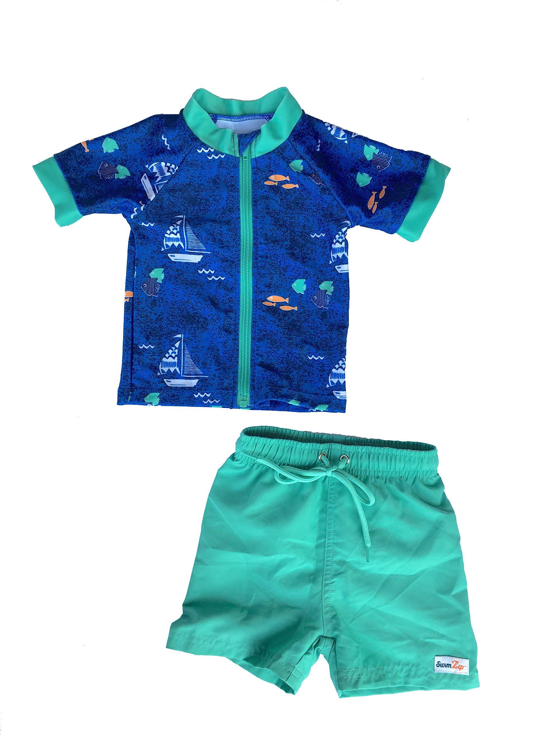 f12a48d70a Get Quotations · SwimZip Zipper Short Sleeve Rash Guard Swimsuit Set  Captain Kid Blue