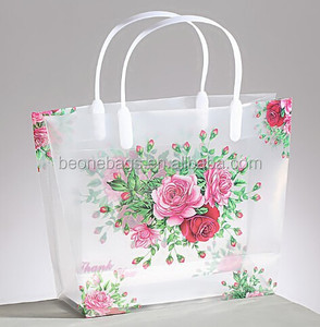 online shopping india PP gift transparent packaging bag with flower printing