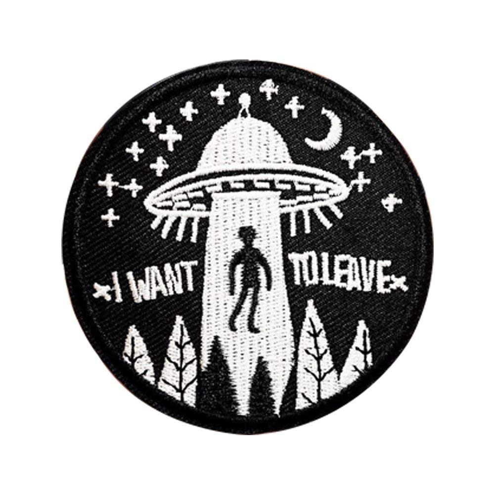 XUNHUI I Want to Leave UFO Alien Badges Patch Embroidered Applique Sewing Label Patches Clothes Stickers Apparel 5 Piece