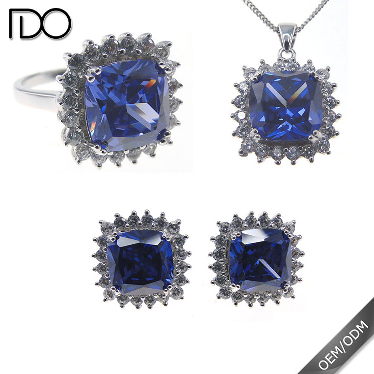 Superior quality classic tanzanite color indian jewelry set
