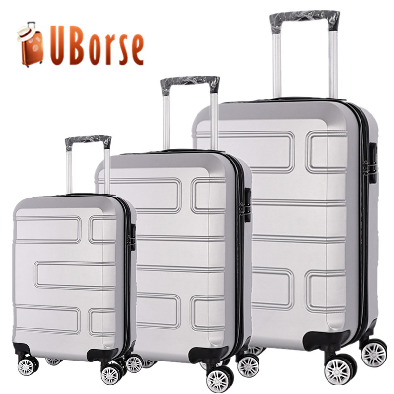 stock 3pcs luggage set 20 24 28inch trolley travel suitcase ABS PC luggage