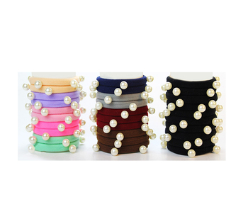 Elastic Hair Tie No Crease ponytail holder Hair Accessor Scrunchies pearl Hair ties