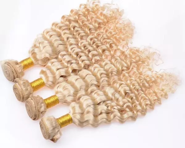 8A grade virgin brazilian deep wave 613 platinum hair bundles