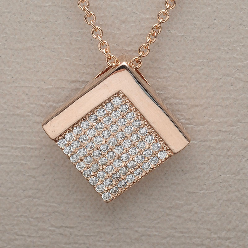 18k gold cubic zirconia pave setting gold square pendant necklace 18k gold cubic zirconia pave setting gold square pendant necklace mozeypictures Image collections