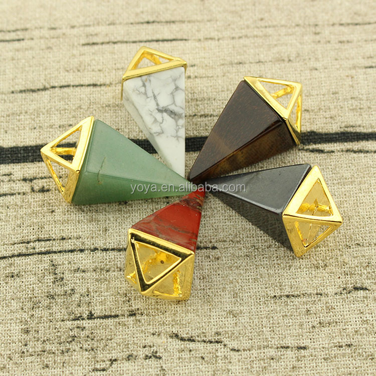 JF6944 Wholesale New Healing Crystal Stone Spike Pendants,Crystal Gemstone Pendulum Pendants